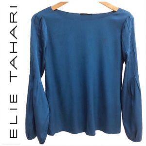 Elie Tahari Blue Silk Bell Sleeve Blouse M